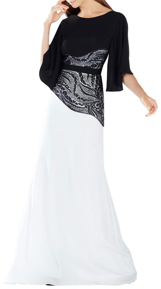 Bcbgmaxazria Black And White Elayna Embroidered Lace Applique Gown