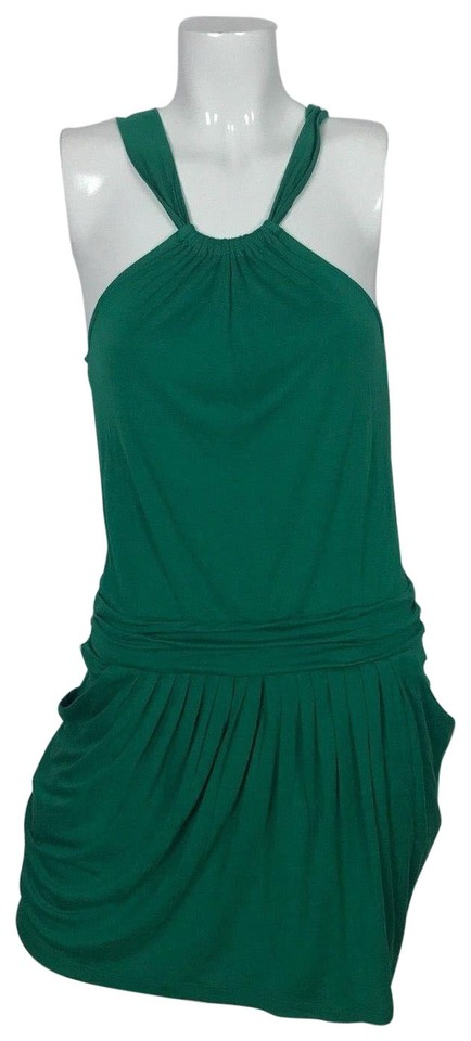 8817b3015a4 BCBGMAXAZRIA Green Sundress Halter Pockets Casual Short Cocktail ...