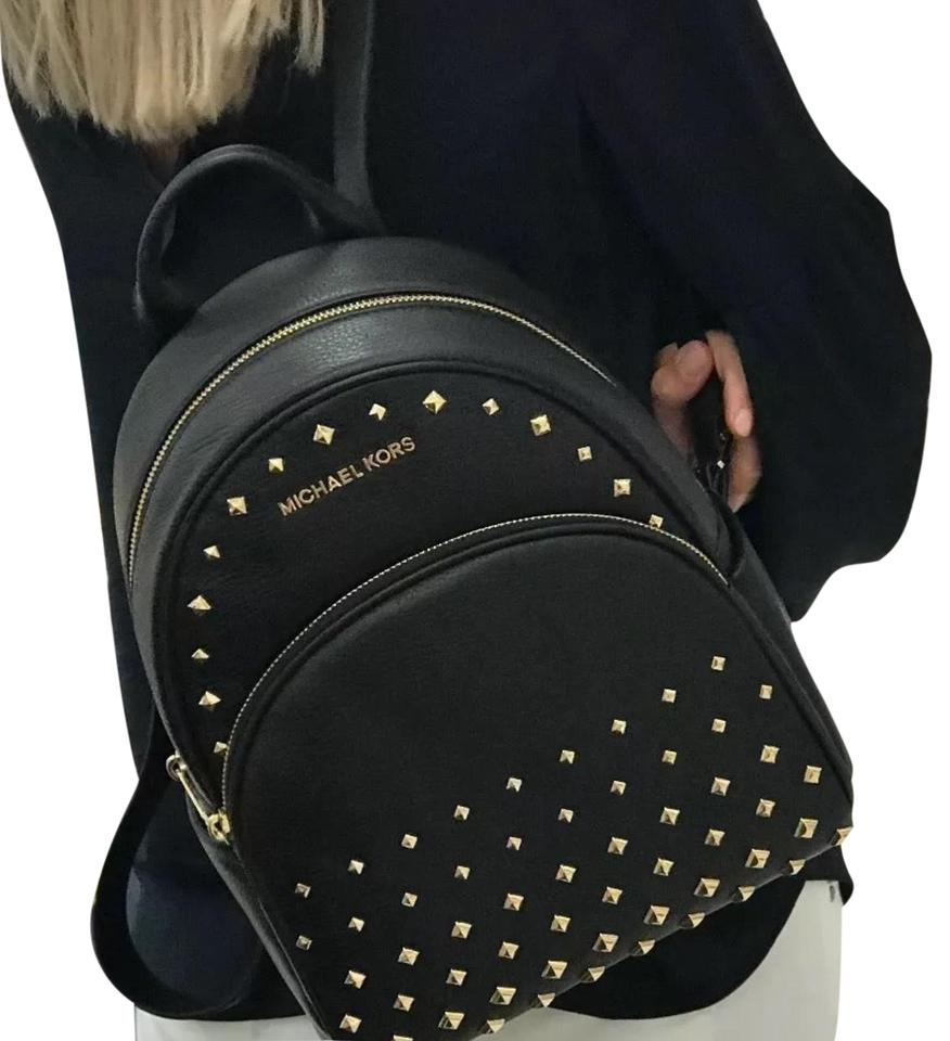 bd1815b83d64dc Michael Kors Abbey Medium Studded Black Leather Backpack - Tradesy