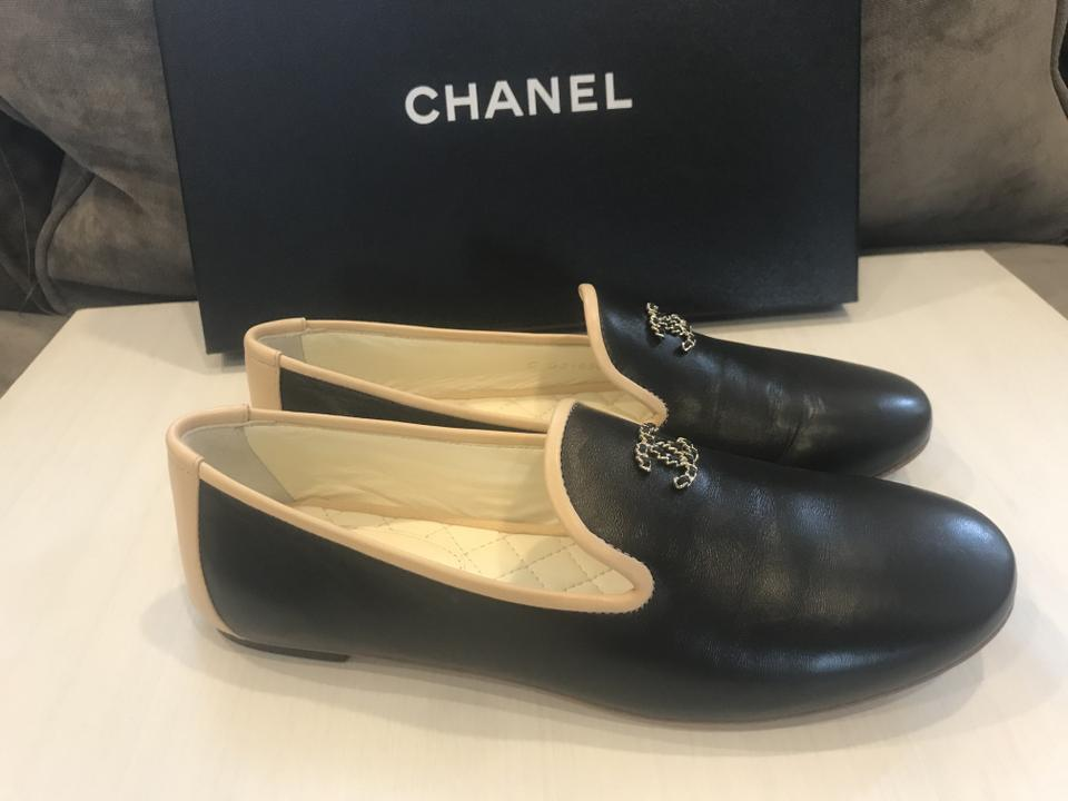 f7ce8aaabf9e Chanel Black Lambskin Leather Cc Loafers Moccasin Flats Size EU 36.5 ...
