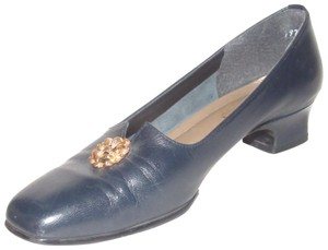 California Magdesians Dressy Or Casual Retro Look Almond Toes Square Low Heels Gold Accents At Toes navy blue leather Flats