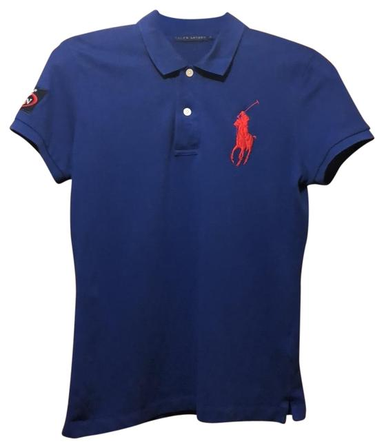 Item - Blue Polo Shirt Button-down Top Size 8 (M)