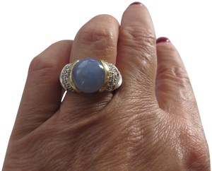 David Yurman Capri Blue Chalcedony with Pave' Diamonds SS/18k Ring