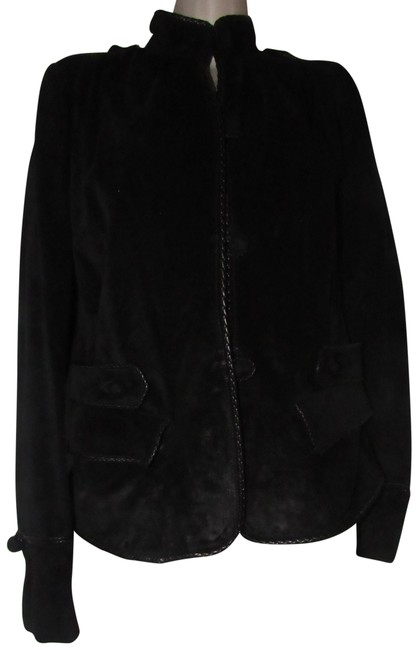 Item - Black Suede and Leather Ysl Clothes/Designer Clothes Jacket Size 8 (M)