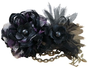 Louis Vuitton Resin Tulle Black Purple Logo LV Monogram Flower Hair Clip