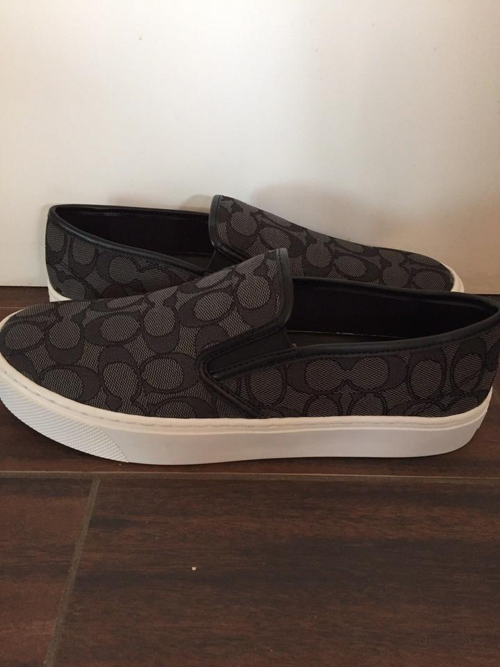 0acb856b26 Coach Black Chrissy Outline Slip Ons In & Gray Flats Size US 8 ...