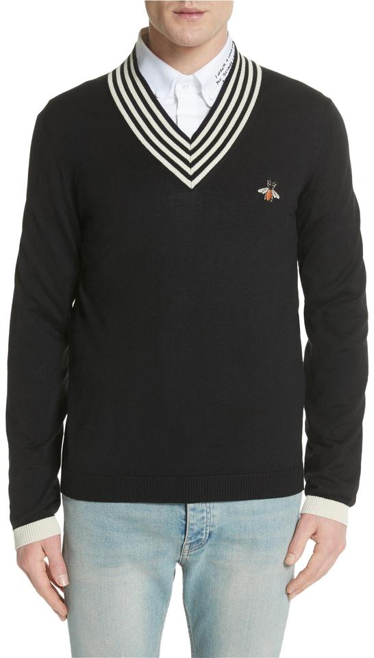 Gucci New Mens Bee Applique Wool Final Sale Black Sweater