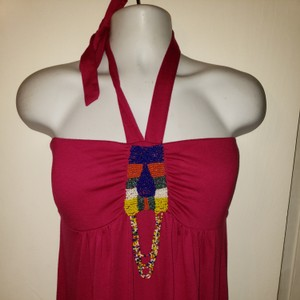 hot pink Maxi Dress by Extra Touch Plus-size Beaded Sundress