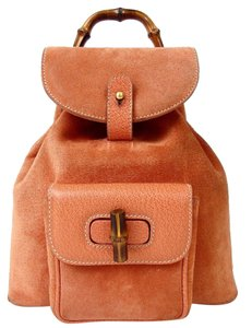 Gucci Vintage Suede Leather Italian Bamboo Backpack b0398b2fd28e7