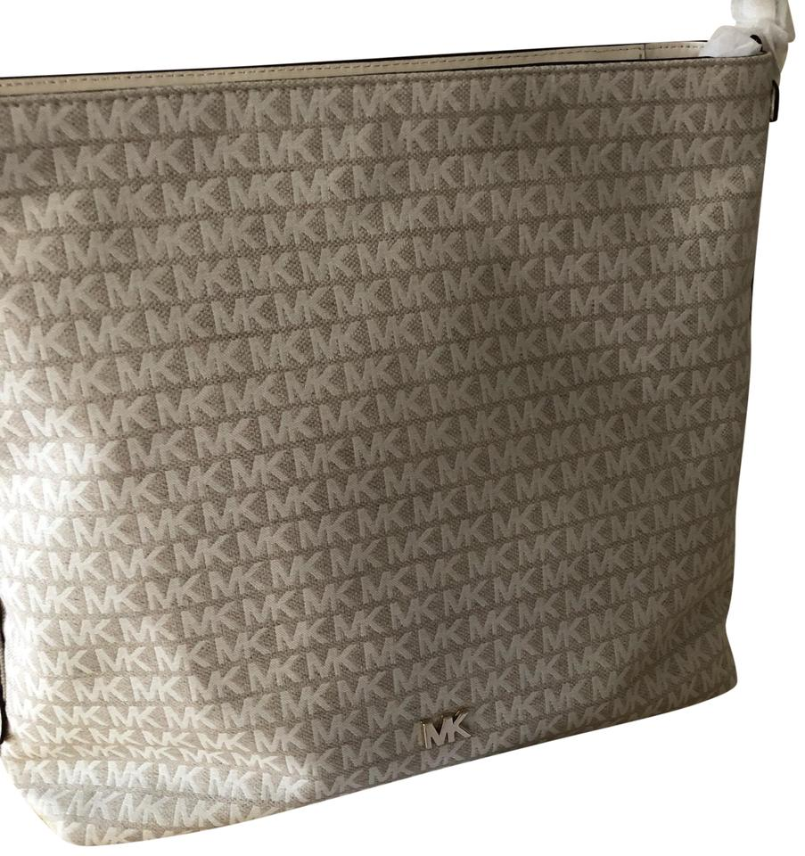 35bd39cca0e8 Michael Kors Griffin Signature Large White Canvas and Polyester Hobo ...