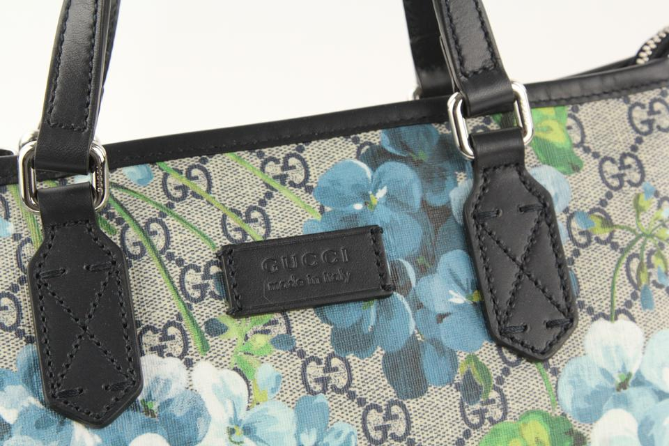 8947e5a79ee Gucci Convertible Gg Blooms Blue Coated Canvas Tote - Tradesy
