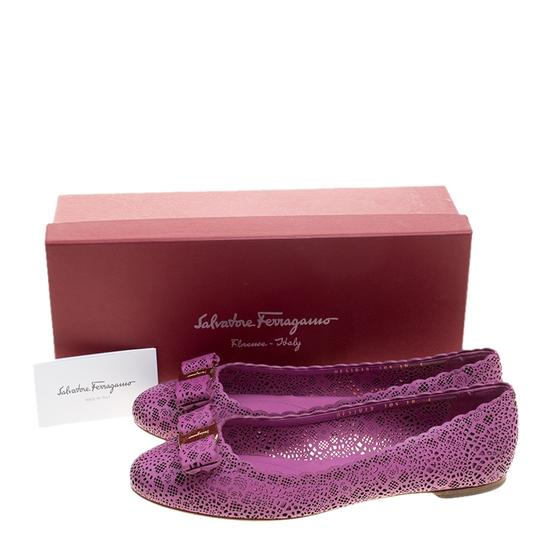 Salvatore Ferragamo Leather Scalloped Ballet Pink Flats
