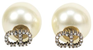 Dior Antique Gold White 'cd' Strass Tribales Earrings