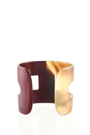 Hermès HERMES Buffalo Horn Lacquer Ano H Cuff Bracelet
