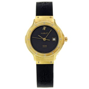 Hublot MDM Geneve 18K Yellow Gold Black Dial Rubber Quartz Ladies Watch