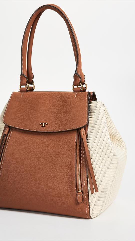 Straw Leather Tote Half Natural Burch Tory Moon Tan Classic qtWvZ06