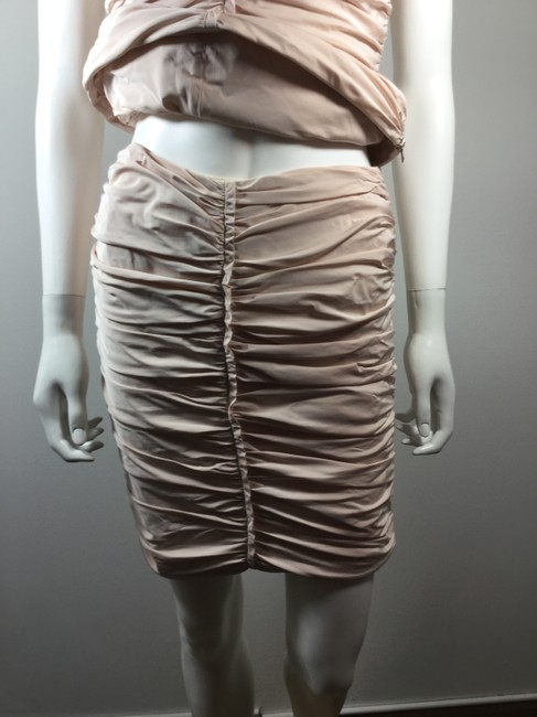 Lida Baday LIDA BADAY Pale Pink Ruched Blouse Skirt Set Size 4 / 6
