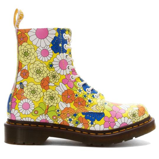 Dr. Martens Leather Floral Lace Up Yellow Boots