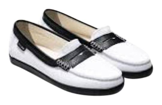 Cole Haan White Twill/Black Flats