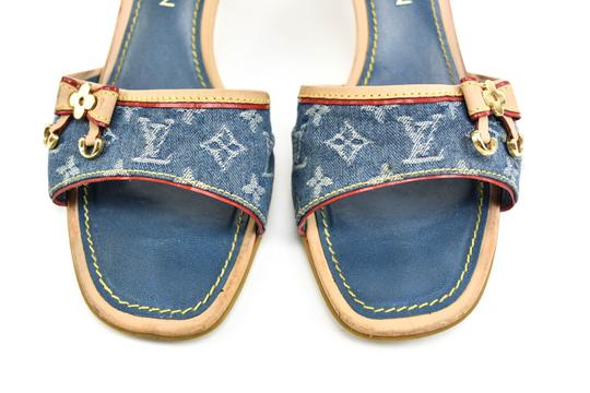 Louis Vuitton Leather Logo Flat Blue Sandals