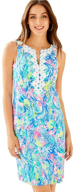 Item - Multi Mermaid Cove Gabby Stretch Shift Short Cocktail Dress Size 0 (XS)