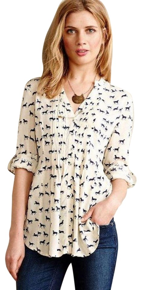 49051bdfa Anthropologie Ivory Maeve Composed Pintuck Horse Button-down Top ...