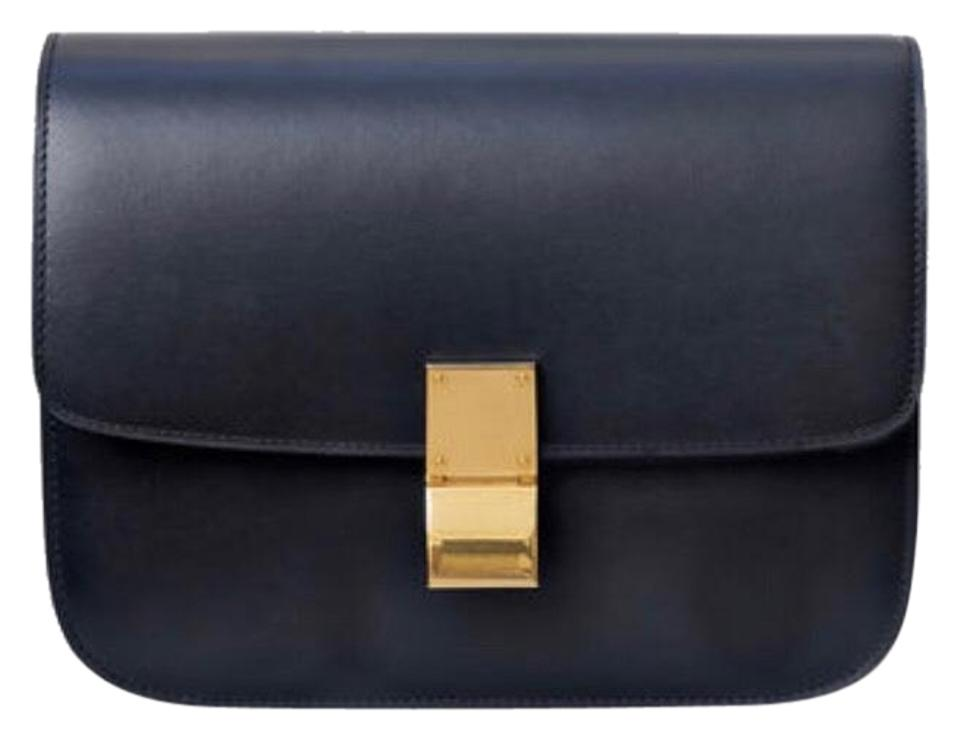 5c03f98e6bd2 Céline Classic Box Medium Navy Calfskin Leather Shoulder Bag - Tradesy