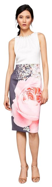 Preload https://item2.tradesy.com/images/ted-baker-white-pink-rubelle-blenheim-ruched-detail-sz2-mid-length-cocktail-dress-size-2-xs-23782131-0-1.jpg?width=400&height=650