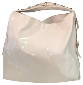 Preload https://item5.tradesy.com/images/studded-slouchy-white-patent-leather-tote-23782174-0-1.jpg?width=440&height=440