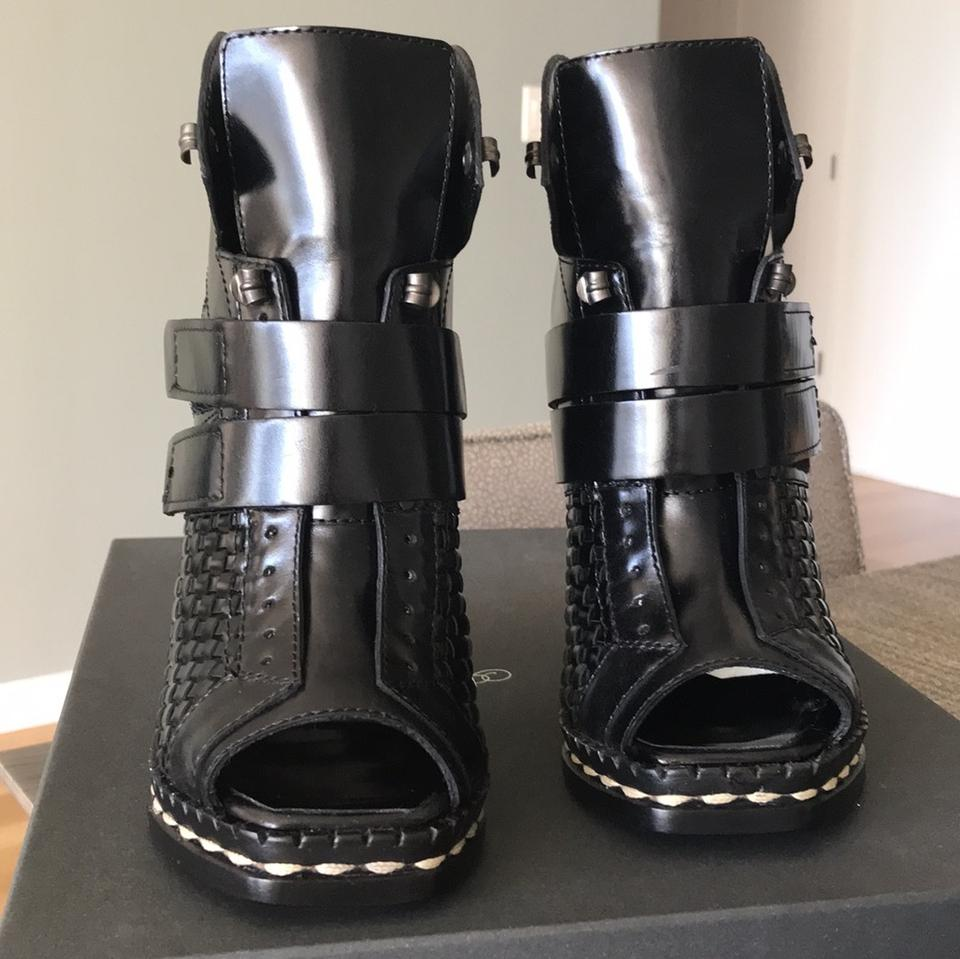 Black Open Proenza Booties Leather Toe Ski Black Style Heel Schouler Patent Basketweave Boots with Hqv6Ixq