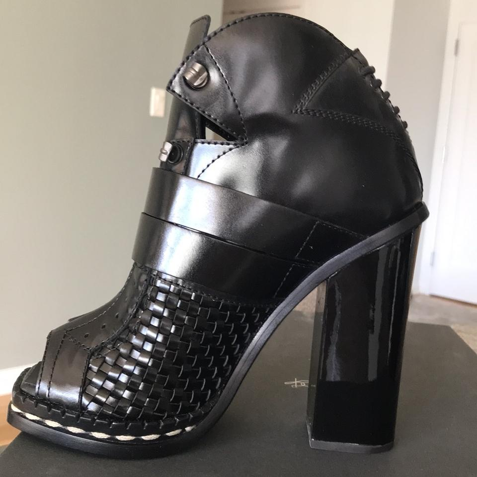 Heel Boots Toe Schouler Patent Style Open Basketweave Booties Leather Ski Proenza Black Black with wY4PxxB7