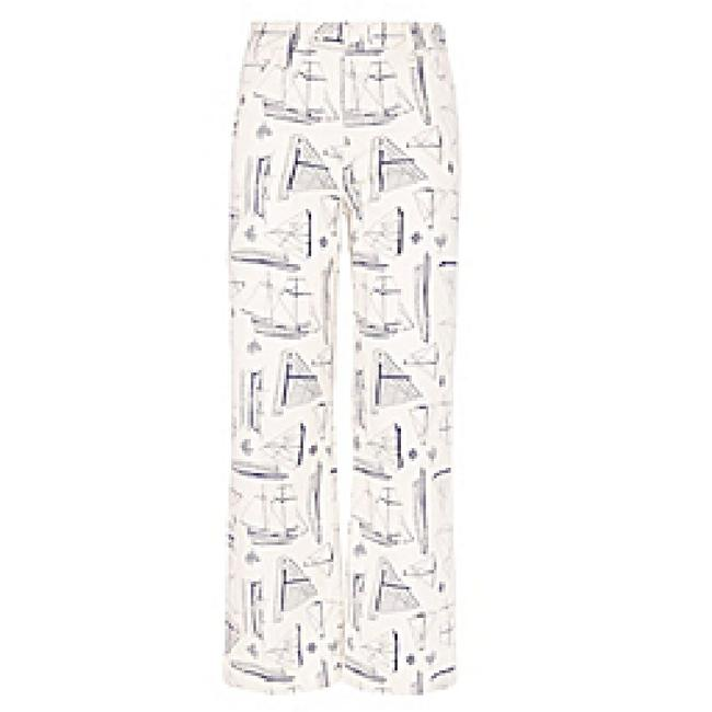 Tory Burch Adrift Nautical Runway Wide Leg Capri/Cropped Pants White