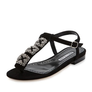 Manolo Blahnik Ottolina Hangisi Suede Crystal Buckle Black Sandals