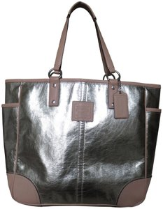 Coach Leather Trimmed Tote in metallic gold