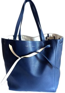 Céline Cabas Phantom Leather Tote in Navy Blue