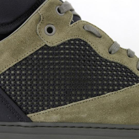 Balenciaga Black/Olive Green Men's Black/Olive Suede Leather High Top Sneakers 48/15 412349 3241 Shoes