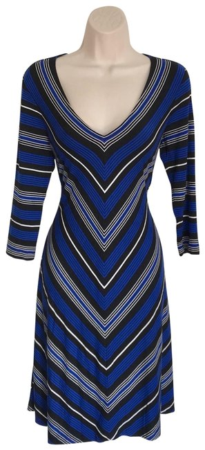 Preload https://img-static.tradesy.com/item/23782364/calvin-klein-blue-chevron-v-cut-flared-mid-length-workoffice-dress-size-6-s-0-1-650-650.jpg
