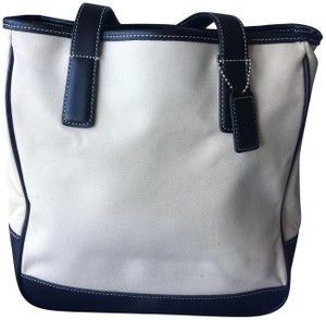 Coach Canvas Leather Tote in Off White