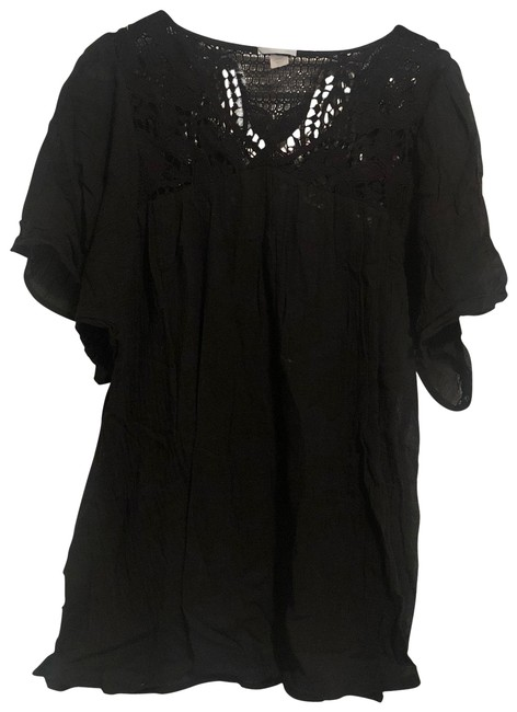 Eberjey Black Crochet Cover-up/Sarong Size 8 (M) Eberjey Black Crochet Cover-up/Sarong Size 8 (M) Image 1