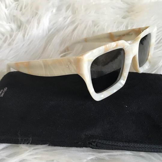 Céline CELINE - KATE WHITE MARBLE ACETATE SUNGLASSES, GREY BLUE LENSES