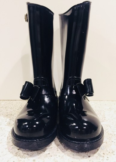 RED Valentino Rainboots Bow Rain Rubber Black Boots