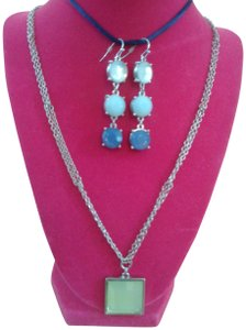 Gwendolyn Allen Blue and Green Necklace and Pierced Earrings