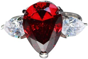 Other New 925 Silver Pear Red Sapphire Ring