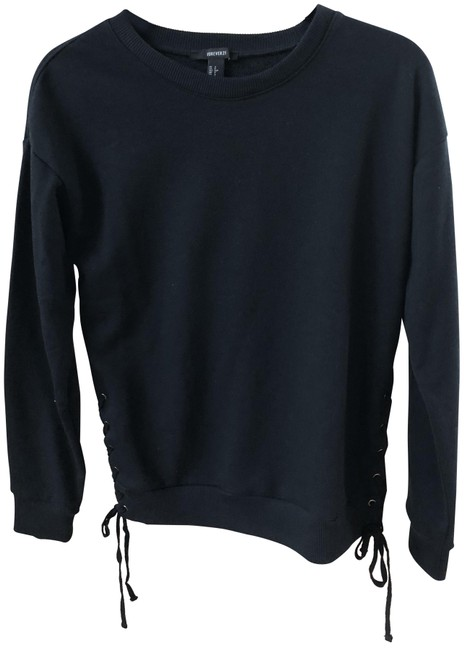 Preload https://img-static.tradesy.com/item/23782513/forever-21-black-lace-up-sweatshirthoodie-size-4-s-0-1-650-650.jpg