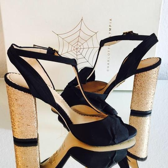 Charlotte Olympia Black and Gold Sandals