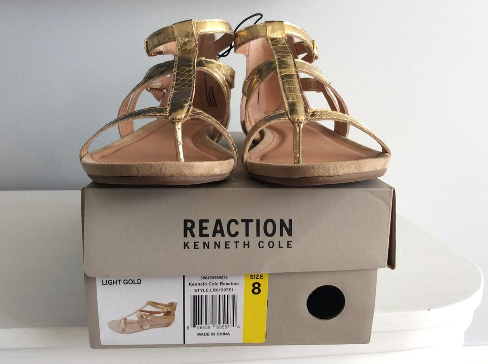 4bf5c1dc5f05 Kenneth Cole Reaction Gold Faux Snakeskin Gladiator Sandals Size US ...