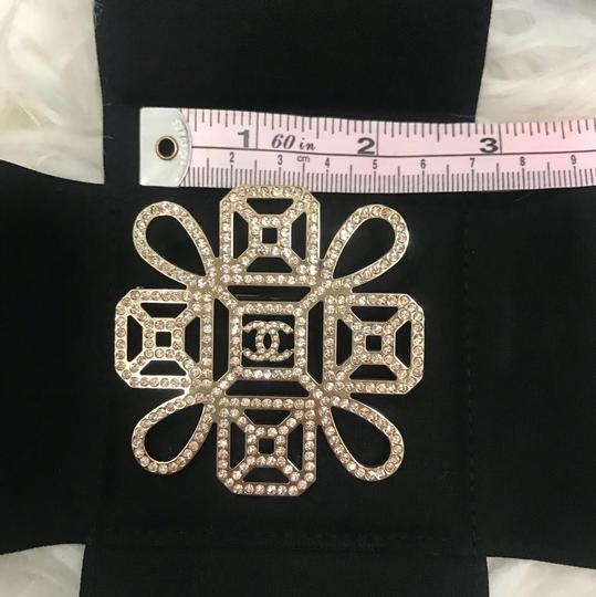 Chanel New in Box Chanel Pink Crystal CC Crest Logo Square Brooch LARGE