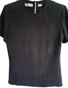 Chaus Classic Silk Made In China Short Sleeves Crew Neck Top Black