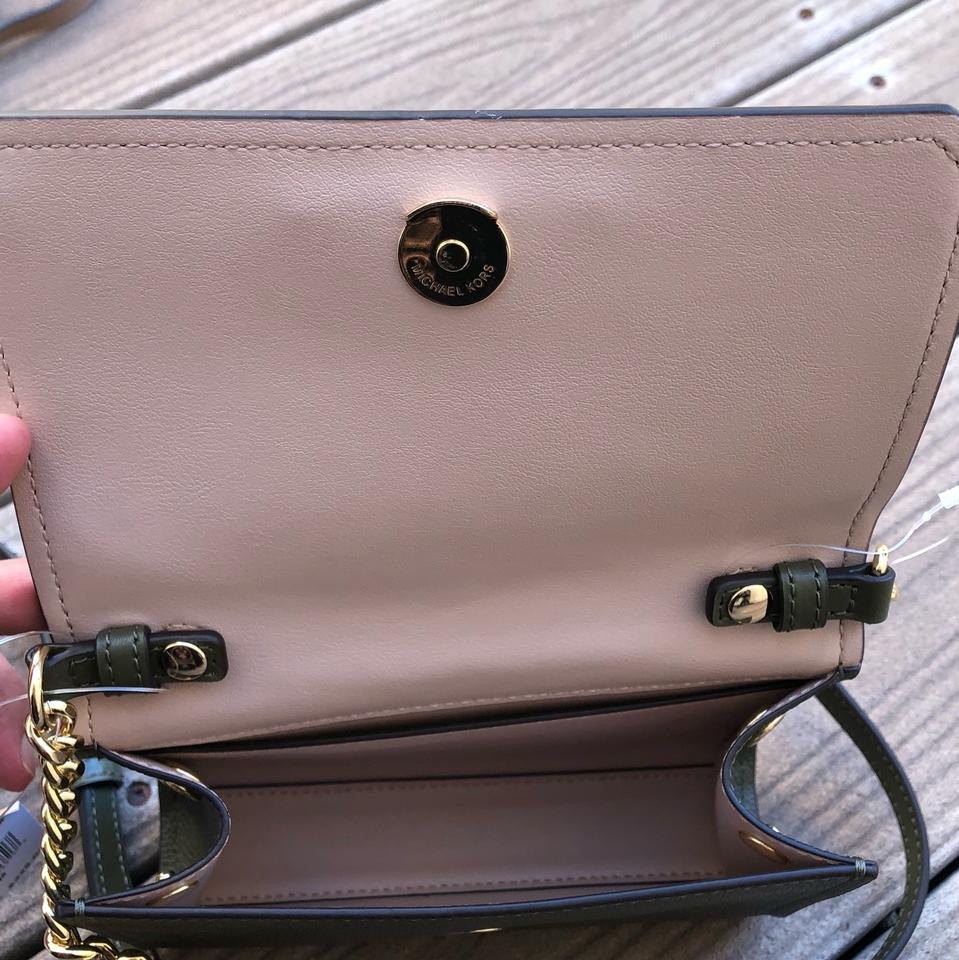 1765f808ef99 Michael Kors Hayes Small Clutch Chain Handbag Olive Leather Cross ...