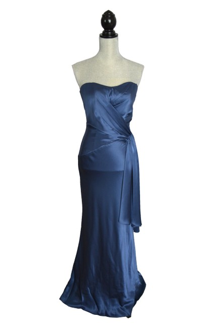 Item - Blue Structured Fifties Glamour Style Sweetheart Neckline Ballgown Long Formal Dress Size 4 (S)